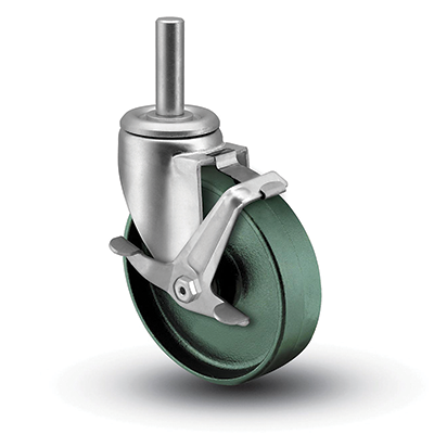 Colson 3 Series Round Stem Swivel Caster with Top Lock Brake