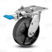 "Colson 4 Series 1-1/2"" Maxim Wheel on Top Plate Swivel Caster with Foot-Activated Swivel Lock"