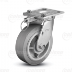 "Colson 4 Series 1-1/2"" Performa Wheel on Top Plate Swivel Caster with Hand-Activated Swivel Lock"