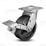 "Colson 4 Series 1-1/2"" Polyolefin Wheel on Top Plate Swivel Caster with Tread Lock Brake"