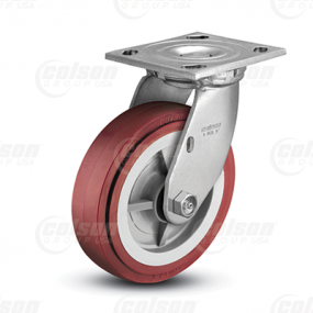 "Colson 4 Series 1-1/2"" Polyurethane HI-Tech Wheel on Top Plate Swivel Caster"