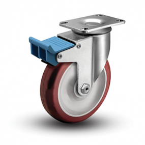 Colson 2 Series Swivel Top Plate Caster with Directional Lock Brake