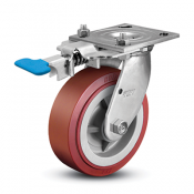 Colson 4 Series Stainless Steel Swivel Top Plate Caster with Foot-Activated Swivel Lock