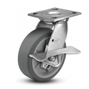 Colson 4 Series Stainless Steel Swivel Top Plate Caster with Side Lock Brake