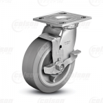 "Colson 4 Series 1-1/2"" Performa Rubber Wheel on Top Plate Swivel Caster with Top Lock Brake"